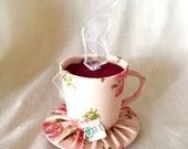 Tiny Top Hat: The Tea Cup Pink -Scented- With White Ribbon Steam