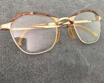 Vintage American Optical Eye Glass Frames- Brown and Gold- Retro Eye Wear