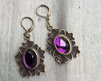Purple Passion Earrings/Edwardian/Victorian/Holiday Jewelry