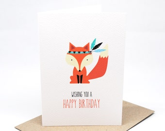 Birthday Card Female - Fox with Feathers - HBF149 / Happy Birthday Card for the Birthday Girl / Female / Mum