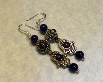 Purple Jade, Iolite, Purple Agate & Bali Style Silver Hamsa Bead Frame Earrings