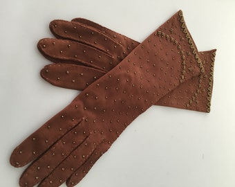 1950s Vintage BRONZE BEADED GLOVES Evening Gloves Dress Gloves Cotton Gloves Size 7 Vintage Gloves Ladies Gloves