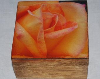 yellow rose wood photo jewelry box