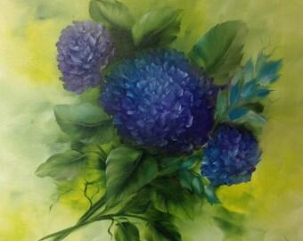 Blue hydrangea oil painting