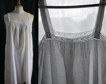 Cotton slip dress white, Lingerie 1920's