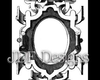 Instant Digital Download, Vintage Victorian Graphic, Scroll Frame, Printable Scrapbook Image, Text Box, Wedding Invitation, Label, Steampunk