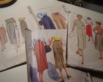 Vintage 1950's McCall's 3769, 7809, 9453, 3808 Skirt Sewing Pattern Lot of 4