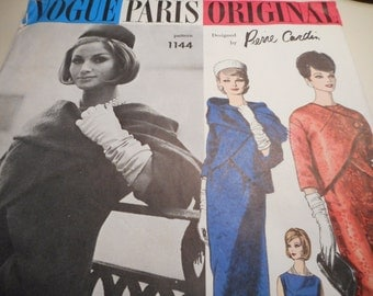 Vintage 1960's Vogue 1144 Paris Original Pierre Cardin Dress and Jacket Sewing Pattern, Size 14 Bust 34