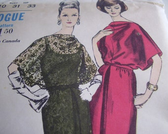 Vintage 1960's Vogue 6258 Dress and Slip Sewing Pattern, Size 10, Bust 31