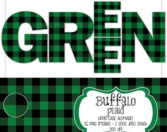 Buffalo plaid flannel uppercase alphabet clip art set - green & black check printable digital letters - instant download
