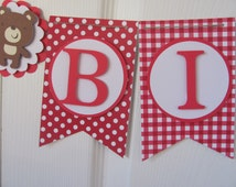 Red and White Picnic Teddy Bear Themed Happy Birthday Banner, Birthday Decorations
