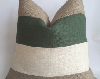 Hunter Green, Cream and Natural Burlap Horizontal Striped Pillow Cover