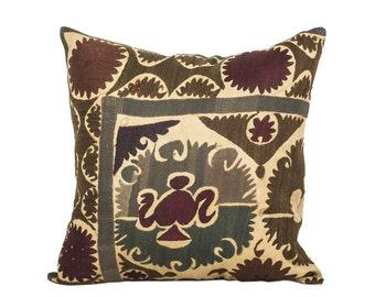 18 x 18 Pillow Cover Suzani Pillow Vintage Suzani Pillow Hand Embroidered Pillow Uzbek Suzani Pillow FAST SHIPMENT with ups or fedex - 07557
