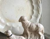 Primitive Chalkware Sheep set of two