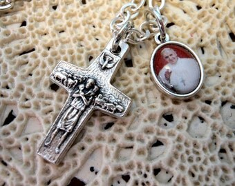 Child's Catholic Necklace-Pope Francis/Good Shepherd Cross-First Communion Gift-Confirmation Gift