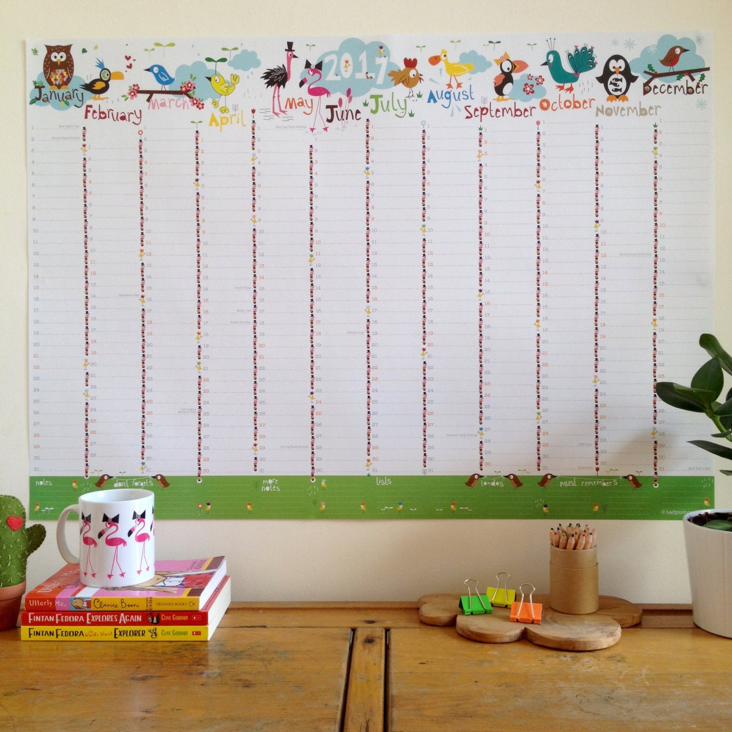 Large 2017 Wall Planner Birdy Family Wall Planner A1 Wall