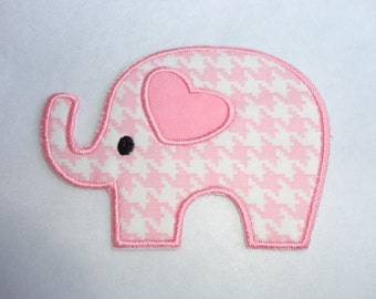 Elephant Iron On Patch, Pink and White Houndstooth Elephant Patch