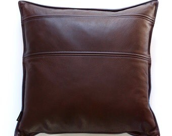 two tone leather pillow cover - chocolate leather & blue red fleck