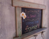 Kitchen Chalk Board in Light Green Distressed and Antiqued with Shelf and Hooks. Handmade Rustic Furniture