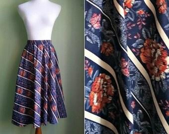 1970s Cotton Circle Skirt - Midi Length Rose Printed - S/M/L