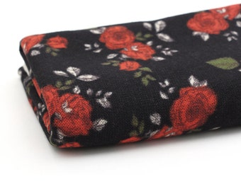 Red Roses Polyester Knit Fabric, Black Floral Knit Fabric, Brushed Knit Fabric - 55 Inches Wide - Fabric By the Yard 71149 - GJ