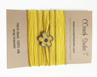 Yellow Silk Wrap Bracelet with Yellow Enamel Flower Button