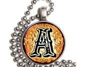 """Letter """"A"""" Art Pendant, Alphabet Resin Pendant, Vintage Initial  Photo, Silver Nickel Coin Charm Necklace"""