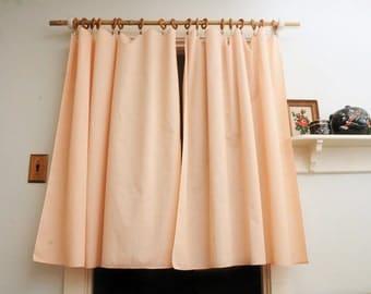 PAIR Peach Swiss Dot Curtain Panels Sheers