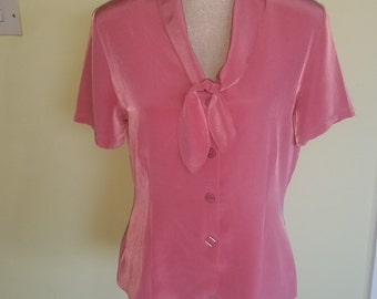 vintage pink marks and spencer blouse top , size uk 12
