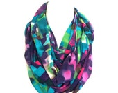 Infinity Scarf, Paint Splash Colorful Abstract Infinity Scarf, Teen, Women Fashion Scarf