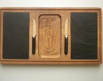 "Baribocraft Canada Teak & Black Slate Cheese Cutting Board Serving Tray 20"" with 2 Knifes"