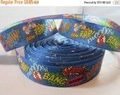 """Bang, Pow, Zap, Boom, Bam, Super hero, Craft Supply, Sewing Material, Grosgrain ribbon, Craft Supplies, 1"""" Ribbon, RN15091"""