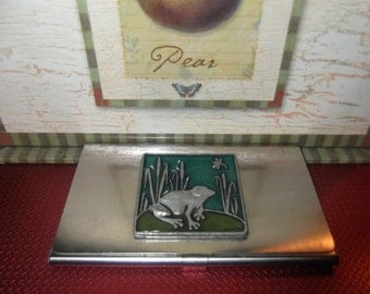 Vintage signed card holder, white metal depicting frog and tall grass scene, adorable, must have, great gift