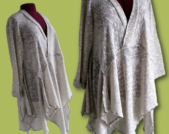 Womens knit tunic / dress / lagenlook top / assymetrical / long sleeve top / loose fitting / Size XL