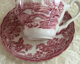 Beautiful Red and White Toile Cup and Saucer- Tonquin by Franciscan - Mint Condition