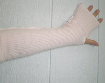 Fluffy ANGORA arm warmers, angora fingerless gloves, long arm warmers, armwarmers, 18 inch, pale peach pink gloves