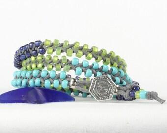 Beaded wrap bracelet, Braided wrap bracelet, Blue olive aqua seed beads, CarolMade Bw2