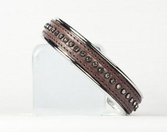 Sterling silver cuff bracelet, Crystal studded leather bracelet, CarolMade L37