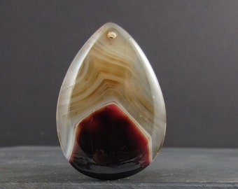 Large agate pendant, Semiprecious stone, Jewelry making supplies B5928