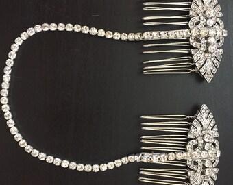 Bridal forehead band , 1920s headpiece , Bridal head chain - hair chain - bridal hair chain