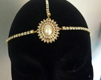 Gold 1920's head chain - Great Gatsby headpiece - hair chain - Art Deco headdress - Flapper headband - 1920s dress -