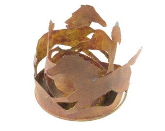 Primitive Wild Horses Metal Sculpture - Candle Holder
