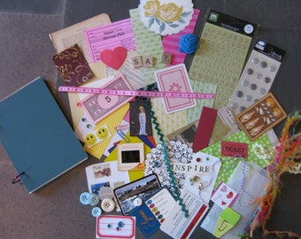 Junk Journal, Art Journal, Travel Journal #1-comes with a bag of over 50 bits and bobs for embellishment