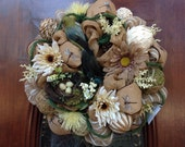 Neutral Burlap and Mesh Spring/Summer Wreath
