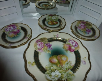 Gorgeous Carlsbad China Luncheon Set with 6 dessert plates Made in Austria