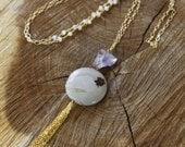 Jasper Amethyst Moonstone Tassel Necklace