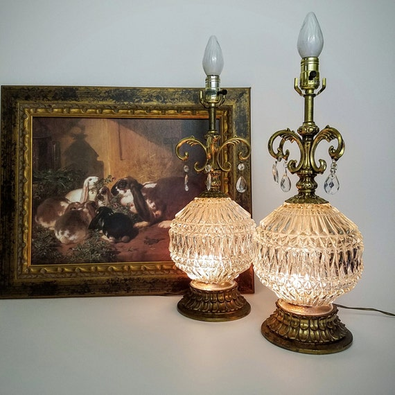 RESERVED-Lamps Mid Century Matching Pair, Hollywood Regency, Styish Oversized Large Lighted Clear Glass Globe