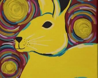 Yellow Rabbit Print, 8x10 Inch Print, Bunny Art, Animal Artwork, Playful Gift Idea, Rabbit Art, Colorful Rabbit Art, Rabbit Lover Art