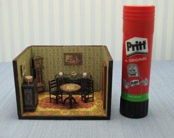 Dollhouse miniature  1/4 1:48 QS Quarter Inch Scale Furniture OOAK diorama 1,48th quarter inch scale dinning room handmade roombox
