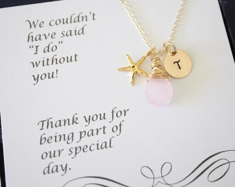 5 Bridesmaid Gift Personalized Gold Starfish, Bridesmaid Necklace, Beach Wedding, Gold, Gemstone, Initial jewelry, Thank you Card, Pink